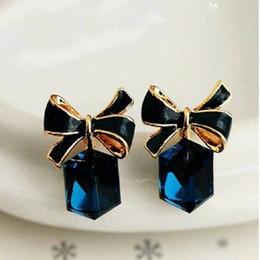 Wholesale Blue Enamel Flower Earrings - crystal box enamel cute bowknot bow earrings fashion women blue earring wholesale