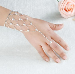 Wholesale Chain Bracelet Ring Finger - Chic Bridal Hand Bracelets Rhinestone Bridal Hand Harness Bangle Slave Chain Wedding Hand Bracelets Finger Ring Bracelets
