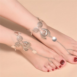 Wholesale Shoe Anklets - Vintage Antique Silver Retro Coin Anklets For Women Yoga Sexy Ankle Bracelet Sandals Brides Shoes Barefoot Beach Gifts 2017 Wholesale