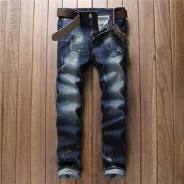 Wholesale Plus Size Quality Clothing - Wholesale- 2017 New Colour Painting Designer Jeans Men Denim Pencil Slim Fit Jeans Size 28 To 38 Gray And Blue Brand Clothing Good Quality