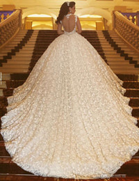 Wholesale Dhgate Backless Gowns - Dhgate VIP Luxury Modest Lace Wedding Dresses Cathedral Train Beaded Applique Bridal Gowns Saudi Arabic Vestidos De Noiva Wedding Dress