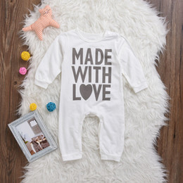 Wholesale Baby Boy Body Suits - Hot Sale Baby Rompers Cotton Kids Boy Girl Clothes Made with Love Letters Toddler Long Sleeve Body Suit Infant Coverall Casual Outfits