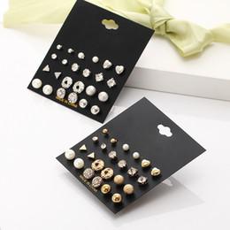 12 пар / комплект панк кристалл круглые серьги-гвоздики для женщин мужчин винтаж бохо имитация жемчуга клип манжеты хрустальные серьги наборы карточек от Поставщики жемчуг серьги