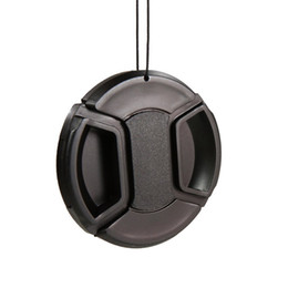 Canada Direct usine! 52mm 55mm 58mm 62mm 67mm 72mm 77mm 82mm Noir Plastique Centre Pincer Snap-On Capuchon + Corde Anti-Perdue pour objectif de caméra Offre
