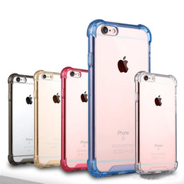 Wholesale Transparent Shockproof Iphone Bumper - Transparent Shockproof Acrylic Hybrid Armor Bumper Side Soft TPU Frame Back PC Case Clear cover for iphone 7 6s Plus Samsung Note 7