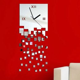 Wholesale Wall Clocks Timers - Cascade of Bricks Mirror Clock Modern Design Second Clock Timer for Home Living Room Bedroom Kitchen Baby Child Novelty Wall Clocks