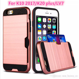 Wholesale Credit Card Power - For LG K20 plus K10 2017 LV7 X Power 2 Galaxy S8 Lasi Brushed Case Credit Card Slot Protector for iPhone 7 Samsung On5 J3 J7 LG LS775 K3 K8