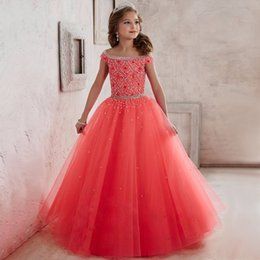 Wholesale Custom Glitz Pageant Dresses - Glitz Kids Pageant Ball Gown Dress Girls Pageant Interview Suits Long Pageant Dresses for Girls 8 10 12 Coral Flower Girl Dress