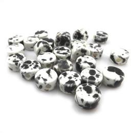 Wholesale Diy Loose Ceramic Beads - Fashion 12x7mm Black White Button Shape Ceramic Loose Beads For Jewelry DIY 100pcs Lot Free Shipping