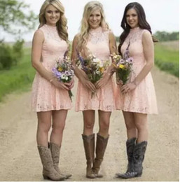 Wholesale Knee High Cheap Bridesmaids Dresses - Cheap Country Short Bridesmaid Dresses 2016 Blush Pink Sleeveless Above Knee Length Bridesmaid Gowns Lace Maid Of The Honor Party Dress