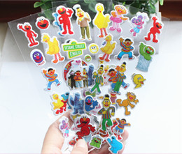 Wholesale Sticker For Children Day - Wholesale- 4 sheets set sesame street 3D stickers for kids Home wall decor on laptop cute Gifts for the children in the party supplies