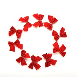 Wholesale Wholesale Plastic Bow Supplies - 12Pcs Christmas Tree Bow Decoration Baubles New Year Ornaments Santa Claus Christmas Decoration Supplies XMAS Party Bows