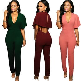 Wholesale New Club Bodysuits - Wholesale- 2016 New Women Summer backless casual Jumpsuits Sexy V-Neck Party Club Rompers Ladies Butterfly sleeve Bodysuits Overall SMR805
