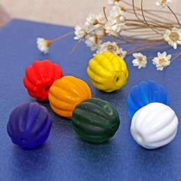 Wholesale Pumpkin Food - 20pcs lot 12mm Old Lampwork Glass Beads Pumpkin Shape Multi Color Frosted Handmade Lampwork Loose Beads For DIY Jewelry