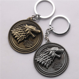 casa stark winterfell Sconti Gioielli Moive Game of Thrones House Stark of Winterfell Badge portachiavi in ​​lega di lupo portachiavi portachiavi gioielli per regalo