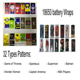 Wholesale Wholesalers For Wrapping Paper - 18650 Battery Wrap Paper With 32 Style Patterns - Rechargeable Batteries Shrink Sticker Wrapper for LG HG2 Samsung 25R 30Q Sony VTC6 VTC5
