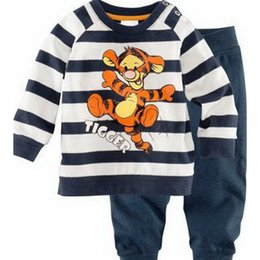 Wholesale Tiger Clothing For Girls - Wholesale- New 2016 Spring Children Kids Long Sleeve Tiger Pajamas Set For Baby Boy Girls Stripe Cartoon Cotton Clothes Sets CC170-CGR2