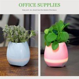 Wholesale Decorative Music Light - LED Music Flower Pots Bluetooth Speaker Mini Colorful LED light Touch Piano Induction Flowerpot decorative Macetas pot Playing Smart Music