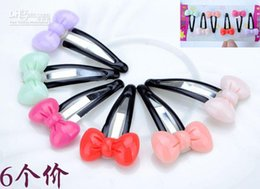 Wholesale Pink Bobby Pins - Children bowknot hairpin  Multicolor little girl bobby pins  Delicate design in sweet style