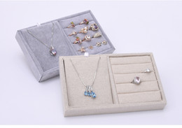 Wholesale Seven Ring Necklace - [Simple Seven] Brief Korean Linen Necklace Display High Quality Ice Velvet Rings Trays Earring Cases Bracelet Jewelry Container