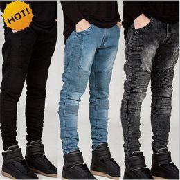 Jeans grigio sottile online-Moda 2017 Hot Stretch Slim Fit pantaloni dritti Pieghe Runway Biker Jeans Uomo Bianco / Cachi / Nero / Grigio / Blu Bottom Uomo 28-38