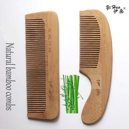 Wholesale Bamboo Hair Comb - original yihua combs real natural bamboo hair brush Anti-static Health care massage makeup tools with retail package 10pcs lot free DHL