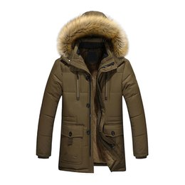 Wholesale Male Jackets Big Collar - Wholesale- Newly L-5XL Men's Thick Warm Winter Down Hooded Coat Men Fur Collar Parka Big Yards Long Cotton Coat Jacket Outwear Male D91