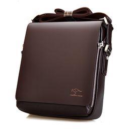 Wholesale Kangaroo Bag Men - Wholesale- Famous Brand Kangaroo Casual Men's leather messenger bags solid designer crossbody bag for male Business shoulder bag