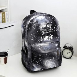 Wholesale Korean Book Bags - Bangtan Boys BTS backpack,korean kpop stars school bag , boys girls canvas book laptop satchel ,V,Rap Monster,JIN,SUGA
