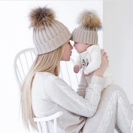 Wholesale Infant Baby Boys Knitted Sets - 2PCS set Family Infant Winter Knit Crochet Caps Faux Fur Beanie Hat Mother Daughter Son Baby Boy Girl skullies ski Cap