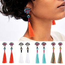 Wholesale Threaded Earrings Wholesale - Fashion Hand Made Soft Slik Thread Multi Color Star Rhinestone Stylish Tassel Earrings For DIY Jewelry Making