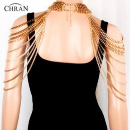 Wholesale Slave Dresses - Stunning Gold Plated Metal Body shoulder Chain JEWELRY Necklace Waist Bikini Harness Dress Decor Slave Chain Jewellry free shipping
