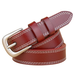 Wholesale Fine Leather Belts - Wholesale- High Quality 2017 Fashion Belts Women Cow Split Leather Pin Buckle Brand Belts For female Fashion Fine Luxury Belts Lady