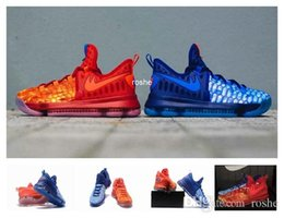 "Wholesale Kd Low Tops - 2017 New Style Zoom KD 9 ""Fire & Ice"" EP Mens Basketball Shoes, Best Price Top Quality KD Shoes 855908-400 Eur 40-46"