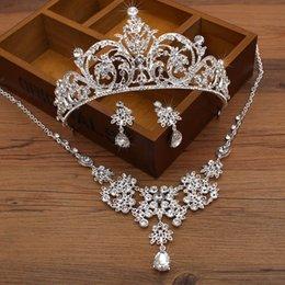 Wholesale Cheap Crown Pendants - Women Fashion Cheap Bridal Rhinestone Crystal Necklace Earring Wedding Jewelry Sets Pendant Wedding Bridal Crown Tiara Hot Selling