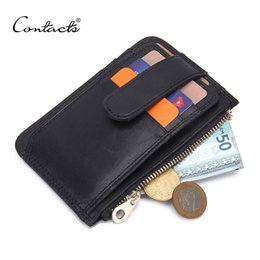 Wholesale Option Pockets - Wholesale- CONTACT'S 2017 Brand Design Casual Genuine Leather Card Case Two Style Options Mens Wallets Slim Zipper Wallet Coin Mini Purse