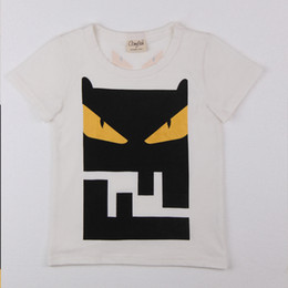 Wholesale Handsome T Shirt - Summer Children Clothing Boys Round Collar High Quality White Little Demon Face Short Sleeve Soft T-shirt Fashionable Handsome Leisure