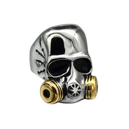 Wholesale Gothic For Men - HIP HOP Punk Gothic Two Tone Gold Color Titanium Stainless Steel Gas Mask Skull Ring for Men