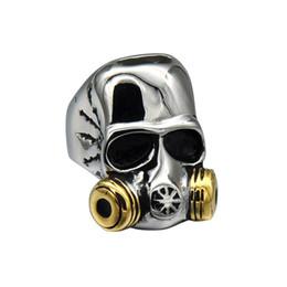 Wholesale Titanium Skull Rings For Men - HIP HOP Punk Gothic Two Tone Gold Color Titanium Stainless Steel Gas Mask Skull Ring for Men