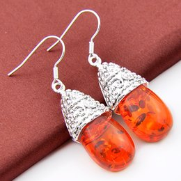 Wholesale Wholesale Gemstones Jewelry China - Luckyshine New Arrive 925 silver plated gemstone earrings punk & vintage royal rare Amber drop earrings for women fashion jewelry E0050