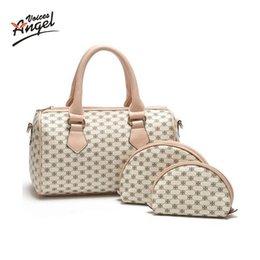 Wholesale Messenger Pieces - Wholesale-Angel Voices! Famous Brand Women Bag Brand 2016 Fashion Women Messenger Bags Handbags PU Leather Female Bag 3 piece Set JY01