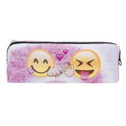 Wholesale Nice Materials - Makeup Pencil Bag Emoji Expression Creative Design 3D Printing Oxford Material Cosmetic Storage Bags Nice Pattern Box 7 5gr F R