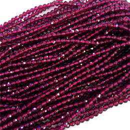 "Wholesale 4mm Faceted Loose Beads - Natural Genuine AAA High Quality Red Garnet Hand Cut Faceted Round Loose Small Beads 3mm 4mm 15"" 04308-G"