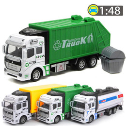 Wholesale Transport Toys For Children - 1:48 Pull Back Alloy Car the Alloy Car Model City Transport Vehicle Toys Garbage Truck Sprinkler Express Car Model for Children Kids