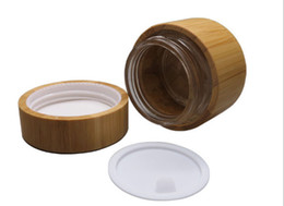 Wholesale Cosmetic Tin Packaging Wholesale - Free shipping 10pcs 50g bamboo cream jars,50ml bamboo cosmetic jar tin container package bottle glass tank inside