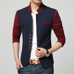 Wholesale Mens Casual Fashion Blazer - Wholesale- Plus Size Blazer Men Chinese Collar Suit Mens Summer Blazer Hommes Casual Jacket Fashion Patchwork Brand Clothing Veste Homme