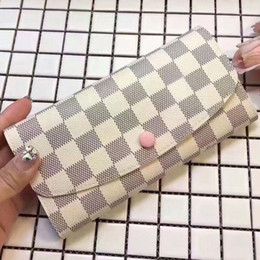 Wholesale Genuine Leather Coats Women - Top Grade Canvas Coated Real Leather Women Sarah Wallet M41381 N63208 N63209 M60531 Fashion designer Flap Wallet