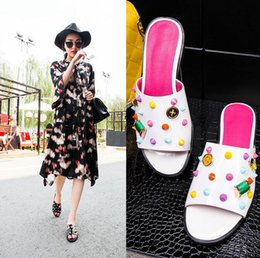 Wholesale Leisure Colours - 7 colour rivets in the summer of 2017 the new cool slippers female leisure joker stuffies tide a word
