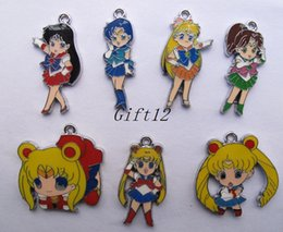 Wholesale Enamel Pendant Jewelry - Mixed New 50 pcs Japanese anime Sailor Moon Enamel Metal Charms Jewelry Making Pendants Charms AT79