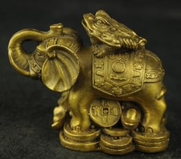 Wholesale Brass Toad - Beautiful Chinese Brass Wealth Elephants and Toad Sculpture